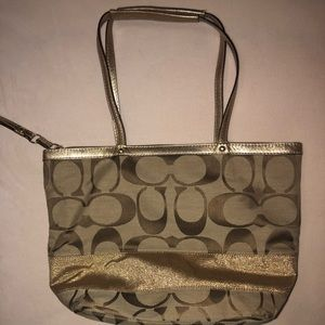22fcb3be48 Coach Bags - Coach Legacy Signature Stripe Handbag (Gold Khaki)